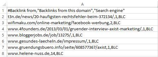 Ausschnitt Ergebnisse CSV Datei