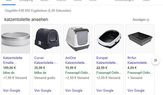Beispiel Google Shopping